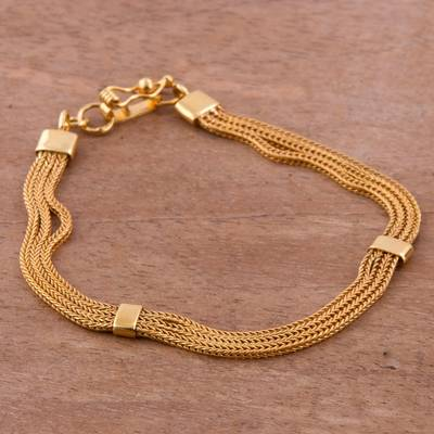 Gold plated sterling silver chain bracelet, 'Dragon Royalty' - Gold Plated Sterling Silver Naga Chain Bracelet from Peru