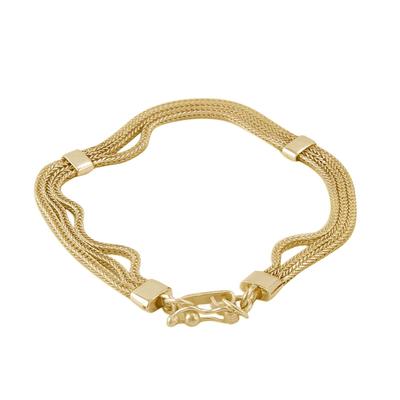 Gold plated sterling silver chain bracelet, 'Dragon Royalty' - Gold Plated Sterling Silver Naga Chain Bracelet from Peru