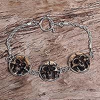 Bone pendant bracelet, 'Aged Immortal Smile'