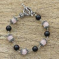 Rose quartz and onyx beaded bracelet, 'Blushing in the Dark' - Sterling Silver Beaded Onyx and Rose Quartz Bracelet