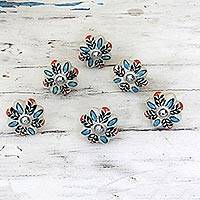 Ceramic cabinet knobs, 'Multicolored Flower Harmony' (set of 6)