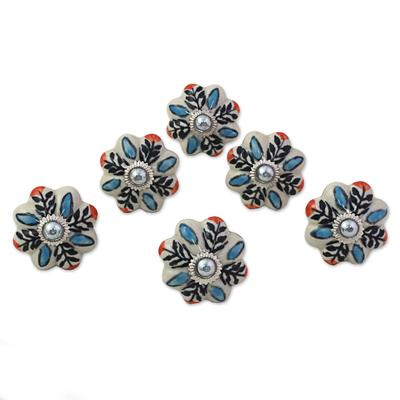 Ceramic cabinet knobs, 'Multicolored Flower Harmony' (set of 6) - Hand Made Ceramic Cabinet Knobs Floral (Set of 6) India