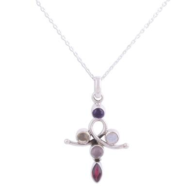 Multi-gemstone pendant necklace, 'Curvy Cross' - Cross-Shaped Multi-Gemstone Pendant Necklace from India