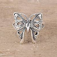 Sterling silver band ring, 'Butterfly Companion'