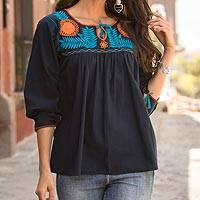 Cotton blouse, 'Pumpkin Flowers' - Navy Cotton Blouse with Floral Embroidery from Mexico