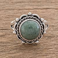 Jade cocktail ring, 'Sunrise in Antigua'