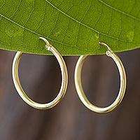 Gold plated sterling silver hoop earrings, 'Eternal Gleam'