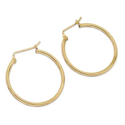Gold plated sterling silver hoop earrings, 'Eternal Gleam' - 18k Gold Plated Sterling Silver Hoop Earrings from Peru