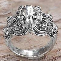 Sterling silver cocktail ring, 'Octopus of the Deep'