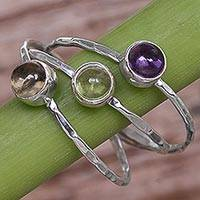 Multi-gemstone cocktail ring, 'Magical Trio' - Amethyst Peridot and Citrine Multigemstone Ring