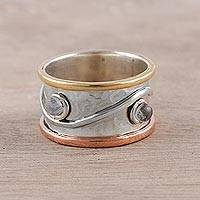 Rainbow moonstone band ring, 'Sparkling Union'