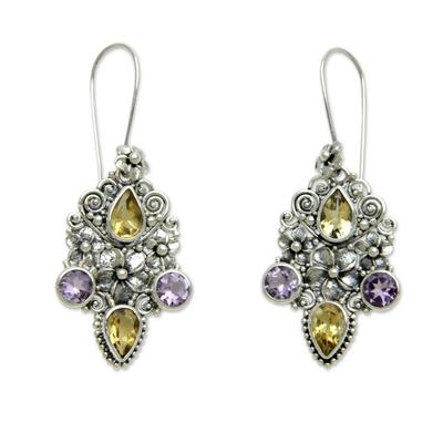 Citrine and amethyst dangle earrings, 'Secret Garden' - Balinese Citrine and Amethyst Silver Earrings