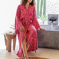 Batik rayon robe, 'Batik Blush' - Batik Rayon Robe in Rose and Berry Pink from Bali