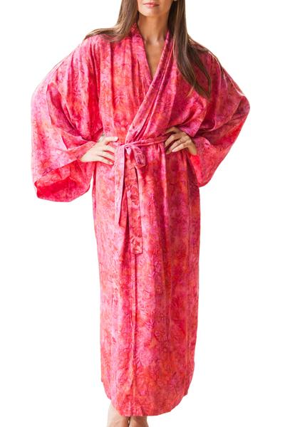Batik rayon robe, 'Batik Blush' - Batik Rayon Robe in Rose and Berry Pink from Bali