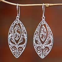 Sterling silver dangle earrings, 'Lace'