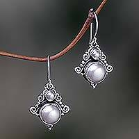 Pearl dangle earrings, 'Exotic' - Handcrafted Sterling Silver Pearl Dangle Earrings