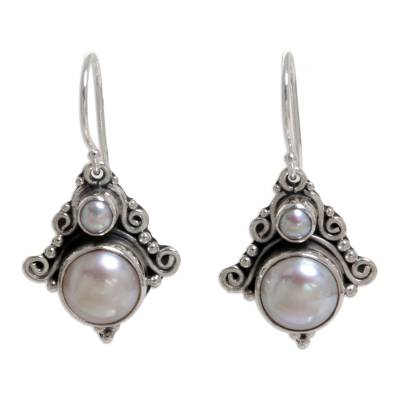 Pearl dangle earrings, 'Exotic' - Handcrafted Sterling Silver Pearl Dangle Earrings