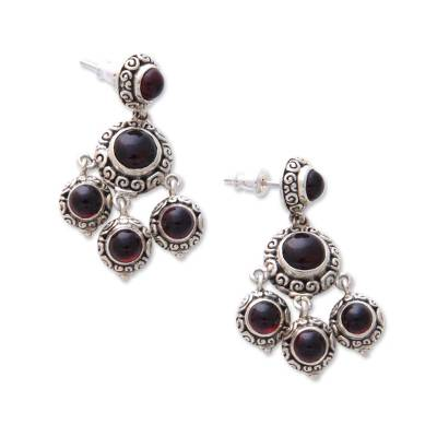 Garnet chandelier earrings, 'Blessing' - Sterling Silver and Garnet Chandelier Earrings