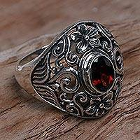 Garnet cocktail ring, 'Bali Sanctuary' - Sterling Silver Garnet Floral Cocktail Ring from Indonesia