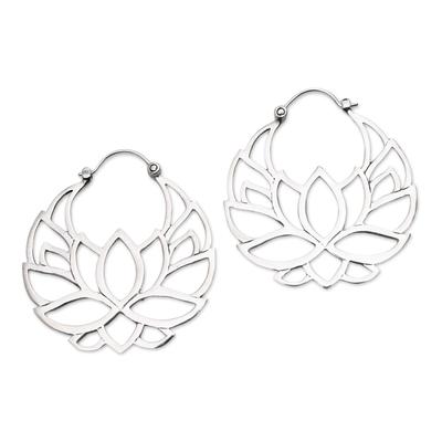 Sterling silver hoop earrings, 'Elegant Padma' (1.5 inch) - Sterling Silver Lotus Flower Hoop Earrings (1.5 inch)
