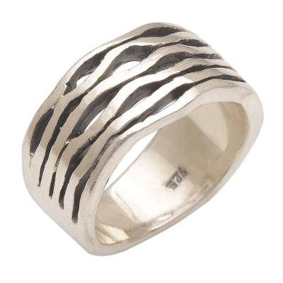 Sterling silver band ring, 'Soul Current' - Artisan Handmade 925 Sterling Silver Band Ring Indonesia