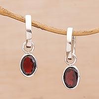 Garnet hoop earrings, 'Out of the Loop' - Versatile Garnet Hoop Earrings with Sterling Silver