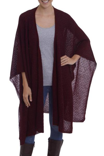 100% baby alpaca ruana, 'Afterlight' - Wine Colored 100% Baby Alpaca Knit Ruana Cape from Peru