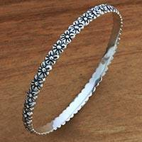 Sterling silver bangle bracelet, 'Silver Garland'