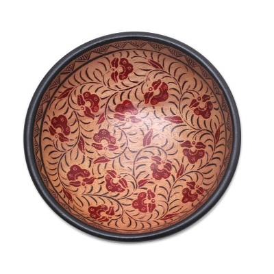 Batik wood decorative bowl, 'Lok Chan Flowers' - Floral Motif Batik Wood Decorative Bowl from Bali