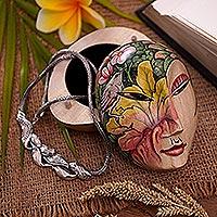 Wood jewelry box, 'Mysterious Lady' - Hand Painted Wood Jewelry Box