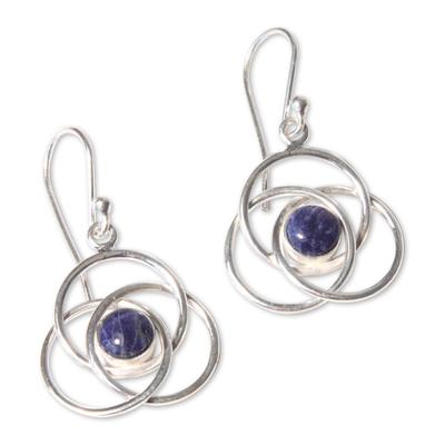 Sodalite earrings, 'Floral Orbit' - Modern Sterling Silver Dangle Sodalite Earrings