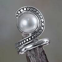 Cultured pearl cocktail ring, 'Sanur Swirl' - Pearl and Sterling Silver Cocktail Ring