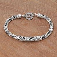 Sterling silver pendant bracelet, 'Swirling Dragon' - Ornate Handcrafted Balinese Sterling Silver Chain Bracelet