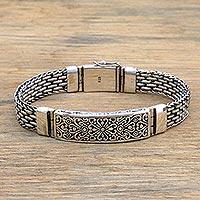 Sterling silver pendant bracelet, 'Bold Bali' - Sterling Silver Unisex Pendant Bracelet from Indonesia