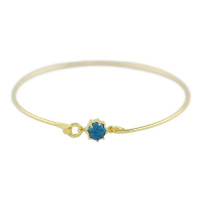 Gold plated bangle bracelet, 'Charmed Luck' - Thai Gold Plated Bangle with Reconstituted Turquoise