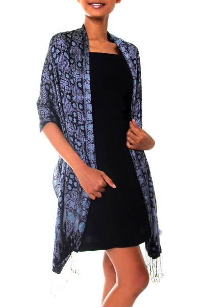 Batik silk shawl, 'Java Sea' - Batik Silk Shawl with Kawung Motifs from Bali