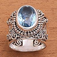 Blue topaz single stone ring, 'Glorious Vines' - Blue Topaz and Sterling Silver Single Stone Ring from Bali