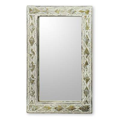 Wood and brass wall mirror, 'Antique White' - White Rustic Wall Mirror with Brass Inlay