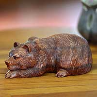 Wood sculpture, 'Brown Bear' - Hand Crafted Animal Sculpture