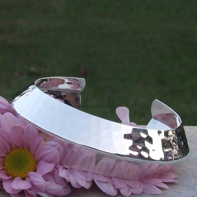 Sterling silver cuff bracelet, 'Ethereal' - Modern Sterling Silver Cuff Bracelet