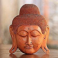 Mahogany wood mask, 'Beatific Buddha'