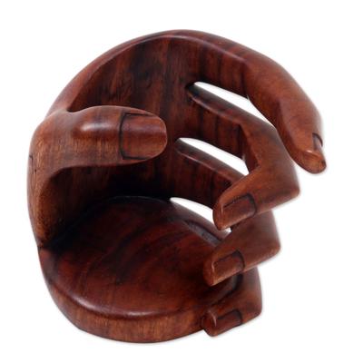 Wood wine bottle holder, 'Hold Me' - Balinese Signed Hand Carved Wood Wine Bottle Holder