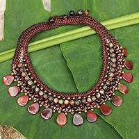 Jasper and tiger's eye choker, 'Fantastic Earth' - Knitted Choker Necklace with Brown and Red Gems