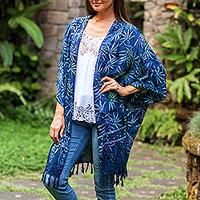 Batik rayon kimono jacket, 'Denpasar Lady in Blue' - Leaf Motif Batik Rayon Kimono Jacket in Blue from Bali