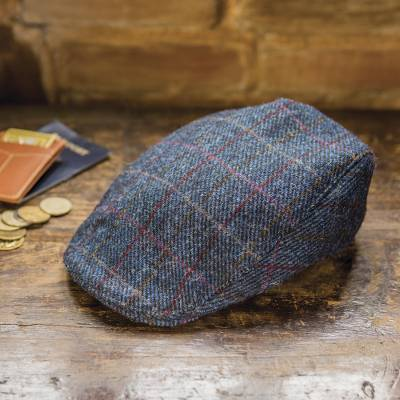 Men's wool touring cap, 'Pride of Donegal' - Men's Navy  Wool Windowpane Tweed Touring Cap