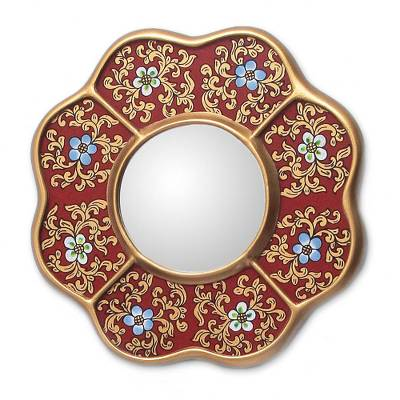 Small wall mirror, 'New Spring' - Collectible Reverse Painted Glass Small Wall Mirror