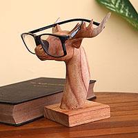 Wood eyeglasses holder, 'Studious Deer'
