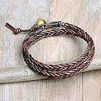 Men's tiger's eye and leather wrap bracelet, 'Double Cinnamon'