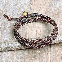 Men's tiger's eye and leather wrap bracelet, 'Double Cinnamon'