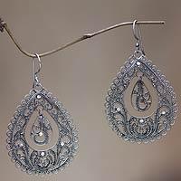 Sterling silver filigree earrings, 'Water' - Sterling silver filigree earrings